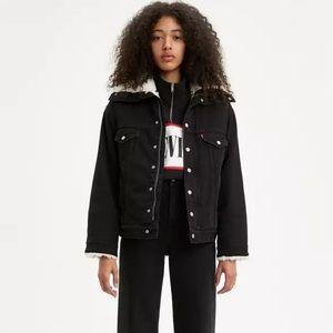 LEVIS Dad Sherpa Denim Jacket Black Womens XS